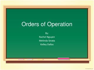 Orders of Operation