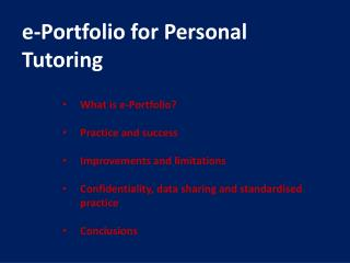 e-Portfolio for Personal Tutoring