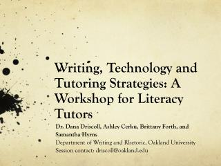 Writing, Technology and Tutoring  Strategies: A Workshop for Literacy Tutors