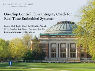 On-Chip Control Flow Integrity Check for Real Time Embedded Systems