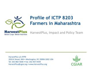 Profile of ICTP  8203 Farmers in Maharashtra
