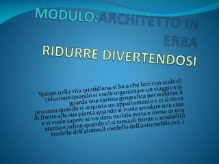 MODULO: ARCHITETTO IN ERBA  RIDURRE DIVERTENDOSI