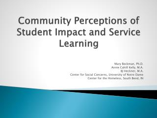Community Perceptions of Student Impact and Service Learning