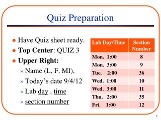 Quiz Preparation