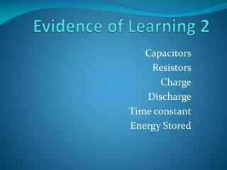 Evidence of Learning 2