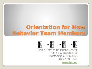 Orientation for New Behavior Team Members