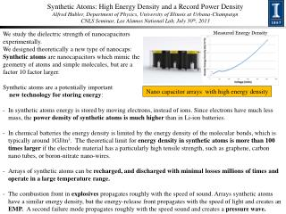 Nano  capacitor arrays  with high energy density