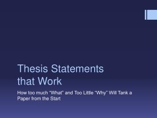 Thesis Statements that Work