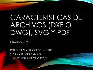 Caracteristicas  de archivos (DXF o DWG),  svg  y  pdf