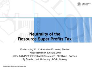 Neutrality of the Resource Super Profits Tax