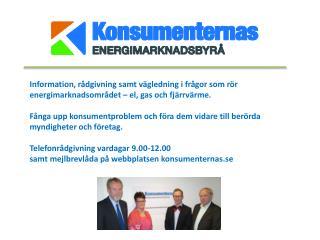 Huvudmän: Konsumentverket Energimarknadsinspektionen Energimyndigheten Energigas Sverige