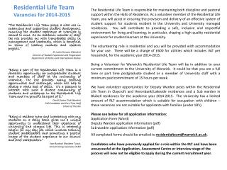 Residential Life Team Vacancies for  2014-2015
