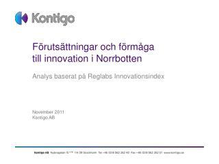 Förutsättningar och förmåga         till innovation i Norrbotten