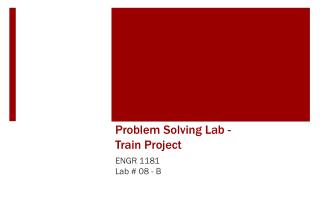 Problem Solving Lab -  Train Project
