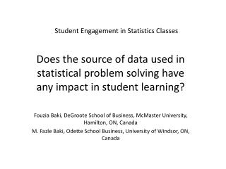 Student Engagement in Statistics Classes