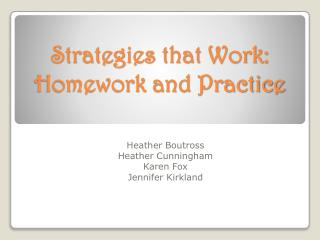 Strategies that Work:  Homework and Practice