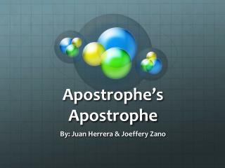 Apostrophe's Apostrophe