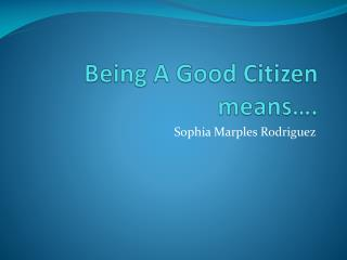 Being A Good Citizen means….