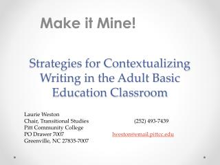 Strategies for Contextualizing Writing in the Adult Basic Education Classroom