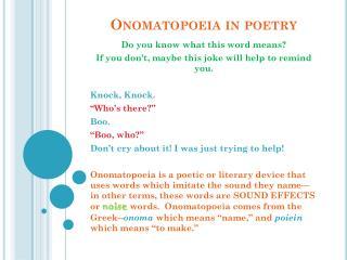 Onomatopoeia in poetry