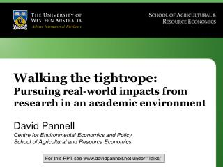 Walking the tightrope:  Pursuing real-world impacts from research in an academic environment