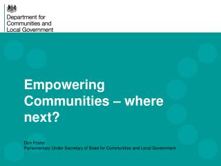 Empowering Communities – where next?