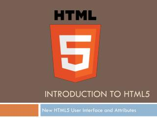 Introduction to HTML5