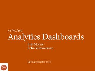 05.899/499 Analytics Dashboards