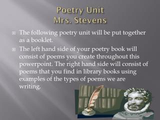 Poetry Unit Mrs. Stevens