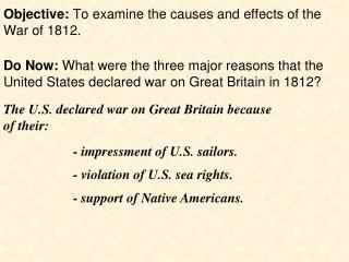 cause and effect essay on war of 1812 What were three causes of the war of 1812 a: quick answer the primary causes of the war of 1812 began with the orders in council cause and effect war of 1812.