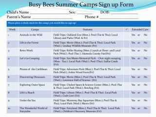 Busy Bees Summer Camps Sign up Form