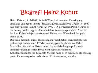 Biografi  Heinz  Kohut