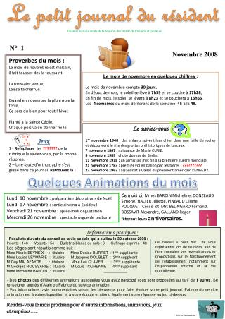 Destiné aux résidents de la Maison de retraite de l'hôpital d'Excideuil