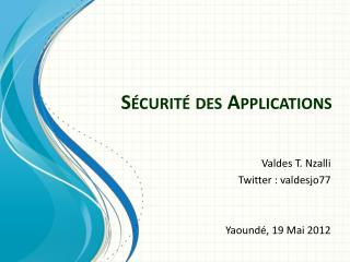 Sécurité  des Applications