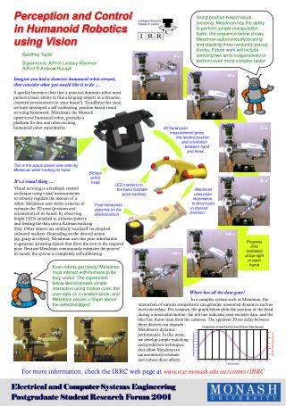 Perception and Control for a Humanoid Robot Using Visual Sensing