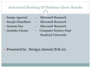 Automated Ranking Of Database Query Results