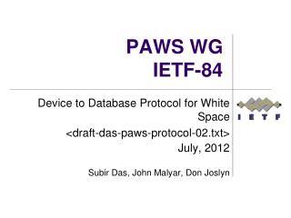 PAWS WG IETF-84