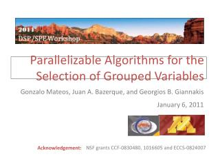 Parallelizable Algorithms for the    	Selection of Grouped Variables