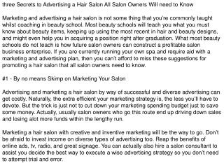 Marketing a Hair Salon