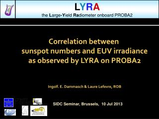 Correlation between  sunspot numbers and EUV irradiance as observed by LYRA on PROBA2