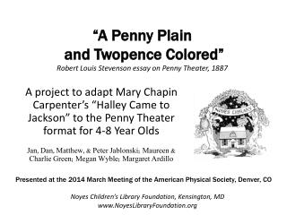 """A Penny Plain  and  Twopence  Colored"" Robert Louis Stevenson essay on Penny Theater, 1887"