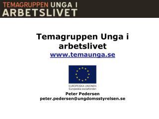 Temagruppen Unga i arbetslivet www.temaunga.se Peter Pedersen peter.pedersen@ungdomsstyrelsen.se