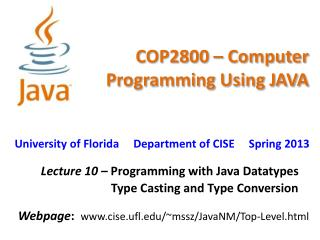 COP2800 – Computer Programming Using JAVA