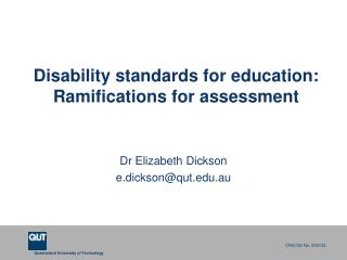 Disability standards for education: Ramifications for assessment