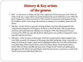 History & Key artists of the genres