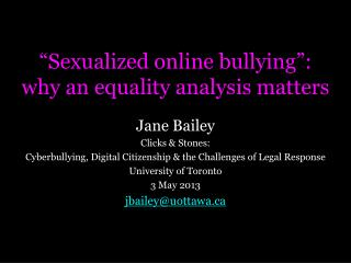 """""""Sexualized online bullying"""": why an equality analysis matters"""