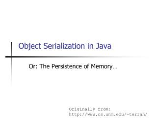 Object Serialization in Java
