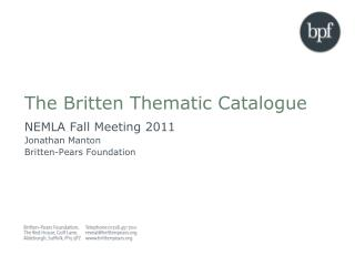 The Britten Thematic Catalogue