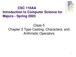 CSC 110AA  Introduction to Computer Science for Majors - Spring 2003