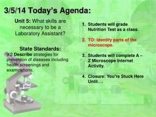 3/5/14 Today's Agenda:
